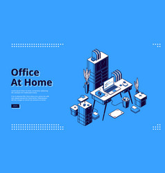 Office at home workplace isometric landing page vector