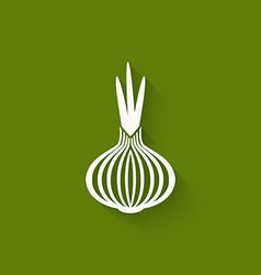 Onion icon green background vector