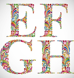 Ornate alphabet letters e f g h vector