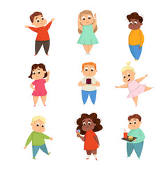 Overweight chubby girls and boys cute plump kids vector