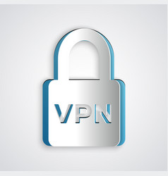 Paper cut lock vpn icon isolated on grey vector