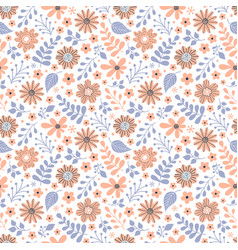 pattern with flowers and leaves vector image