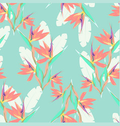 Pattern with strelitzia and leaves vector