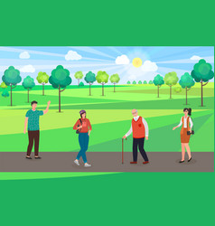 people walk in city park old man girl vector image