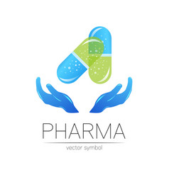 Pharmacy symbol with hands for pharmacist vector