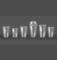 Plastic cups disposal coffee drink mugs isolated vector