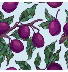 Plum branch with fruit seamless pattern vector image