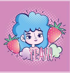 pop art cartoon girl blue curly hair vector image