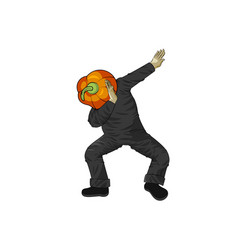 pumpkin gourd vegetable man dancing dab step vector image