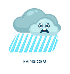 Rainstorm symbol with dark clouds and heavy rain vector