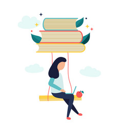 reading concept with characters and books vector image