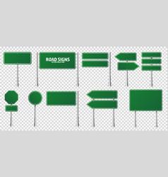 Road green traffic signs set blank board vector