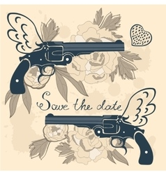Save the date card with two flying guns and vector image