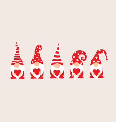 set cartoon gnomes collection cute vector image