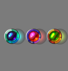 set of bright glass buttons for games vector image