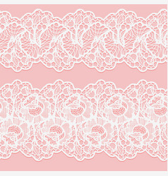 set of lace seamless borders white floral ribbons vector image