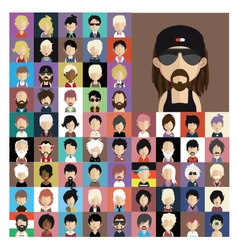 Set of people icons in flat style with faces 08 a vector