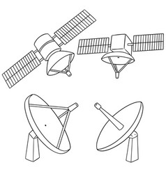 set of satellite vector image