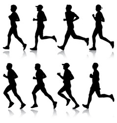 set of silhouettes runners on sprint man and vector image