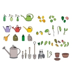 Set with seeds garden tools and equipment vector image