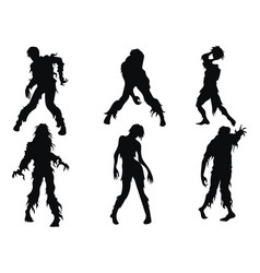 set zombie silhouettes a collection zombies vector image