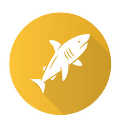 shark yellow flat design long shadow glyph icon vector image