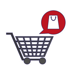 shopping cart and bag bubble blue lines vector image