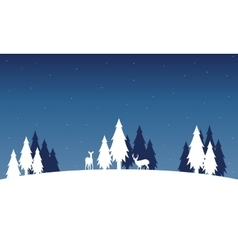 Silhouette of deer and spruce landscape winter vector image