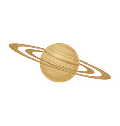 sixth planet of solar system saturn with rings in vector image