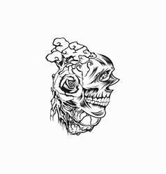 skull t shirt design template vector image
