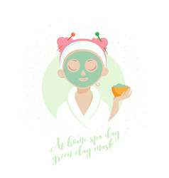 Spa girl green clay mask vector