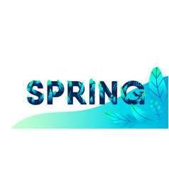 spring green blue letter with leaves vector image