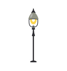 Street lantern with one lamp turned on in flat vector