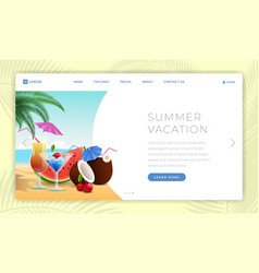 summer holidays landing page template summertime vector image