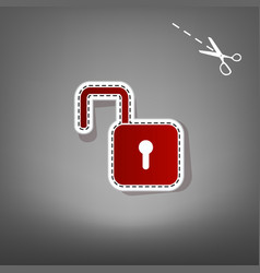unlock sign red icon with vector image