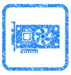 Video accelerator card framed stamp vector