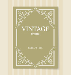 Vintage frame retro style decorative curved border vector