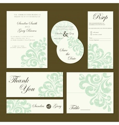 Vintage invitation set vector