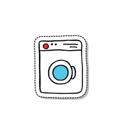 washing machine doodle icon vector image vector image
