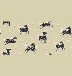 Wild horse running scandinavian seamless pattern vector