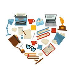 Writer equipment writing supplies creative vector
