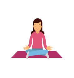 young woman meditating with closed eyes and vector image