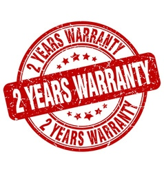 2 years warranty red grunge round vintage rubber vector image vector image