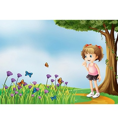 A small girl above the hill with a garden vector image vector image