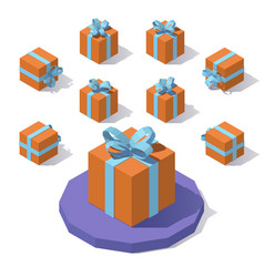 christmas square gift box vector image