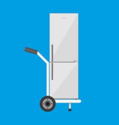 metallic hand truck with freezer vector image