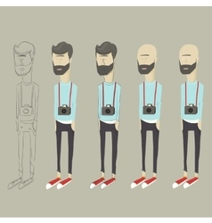 stylized cartoon hipster vector image vector image