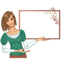 Young woman posing for presentation vector image vector image