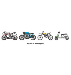 Big set of motorcycles isolated vector