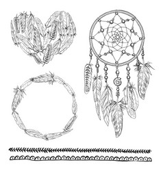 set of boho elements with vector image